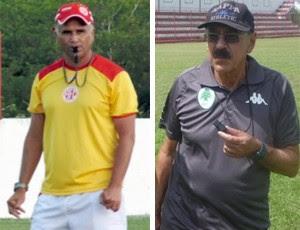 Oliveira Canindé, técnico do América-RN - Américo Faria, técnico do Boavista (Foto: Editoria de Arte)