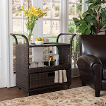Azriel Multi-Brown Wicker Indoor Bar Cart by Christopher Knight Home