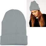 Zodaca Gray Women Knitted Beanie Hat Winter Warm Unisex Girl Solid Plain Color Soft High Quality