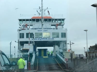 Taking the Wightlink Ferry between Lymington and Yarmouth, Isle of Wight