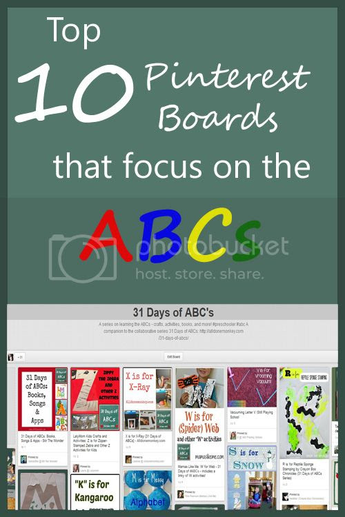 Top 10 Pinterest boards that focus on learning the ABCs