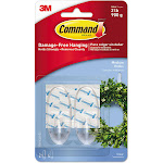 Command Clear Hooks With Clear Strips, Medium, 2 Hooks & 4 Strips