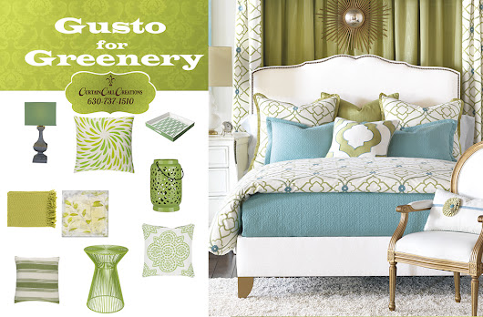 Gusto for Greenery: Pantone Color of 2017 | Interior Design | Window Treatments | Curtain Call Creations
