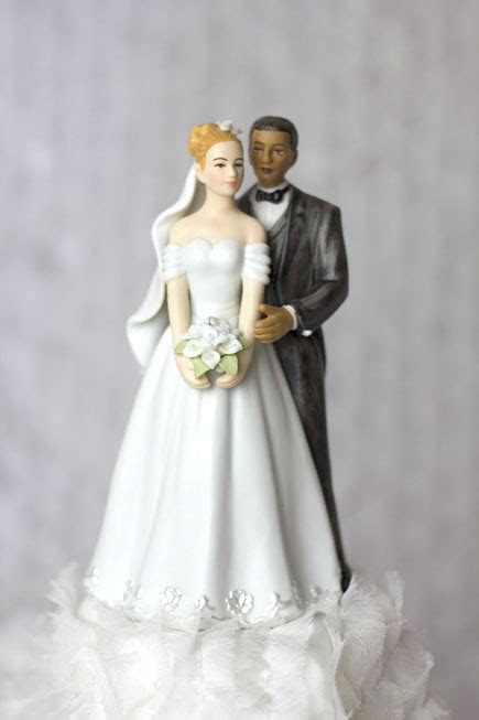 Elegant Interracial Wedding Cake Topper Figurine   N & D