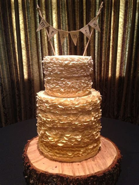 Fondant Ruffle Gold Ombre Wedding Cake   KJ Takes The Cake