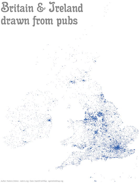 Every pub plotted on map of Britain and Ireland