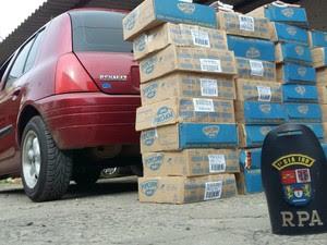 Carga de milho furtada de caminhão foi recuperada (Foto: Divulgação/Polícia Militar)