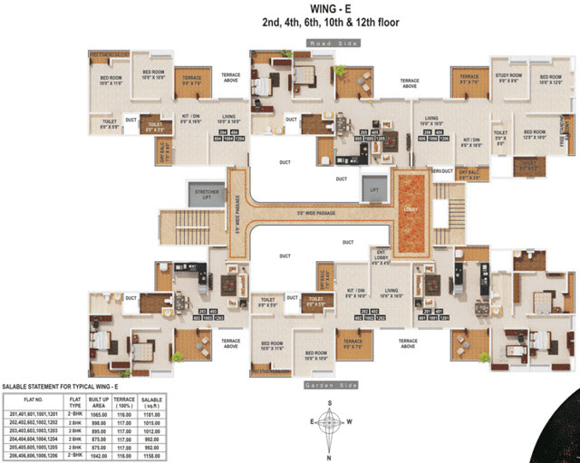 MiCassa Kesnand Wagholi - E Wing Even Floors - 2.5 BHK (1042 -1065 Built-up + 116 Terrace) for Rs. 46.85 to 48.36 Lakhs & 2 BHK (875 Built-up+117 Terrace) for Rs. 41 Lakhs (approx)