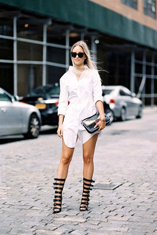 Le Fashion Blog Blogger Street Style Nyfw Sunglasses White Shirtdress Clutch Black Buckled Muti Strap Sandals Via Vanessa Jackman