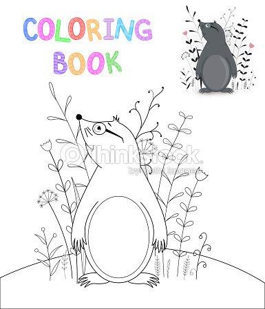 こどもの漫画の動物の塗り絵幼児かわいいほくろの教育課題 ベクトル