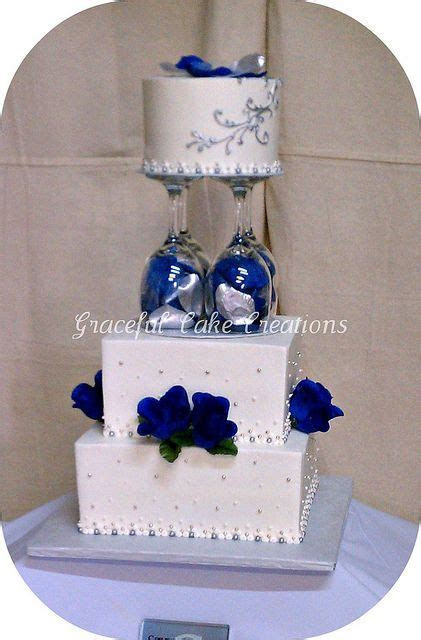 blue and silver wedding cakes   White, Navy Blue and
