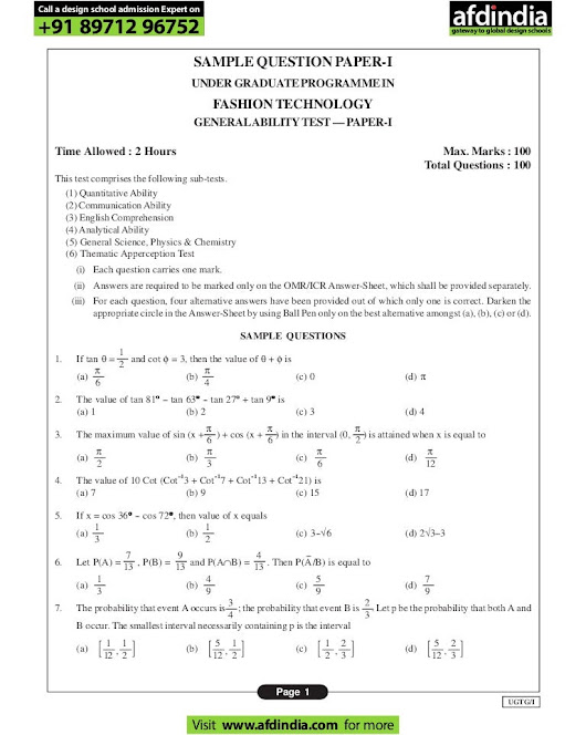 Nift ug technology sample question paper gat