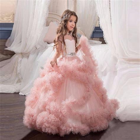 2017 New Flower Girl Dresses Blush Pink First Communion
