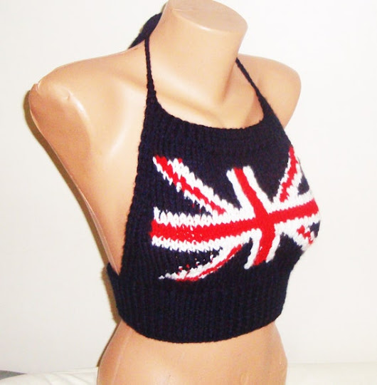 Union Jack Festival Clothing Top / Hand Knit Top / by earflaphats