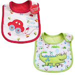 2 Pack of Baby Waterproof Cotton Bibs with Embroidered Designs, Red / Green from Gifts Are Blue