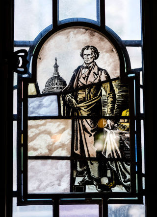A stained-glass window of John C. Calhoun, at Yale University.