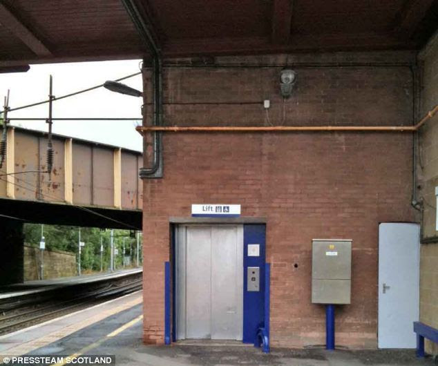 Going down: The Finlaysons were spared jail after being caught committing incest in this lift at Motherwell station in Lanarkshire