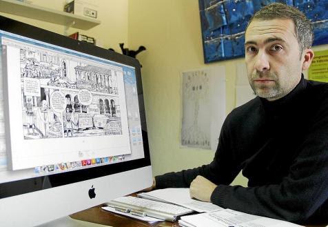 Joan Muñoz Gomila, director de Edicions UIB, con las viñetas de 'La Crónica...' FOTO: JAUME MOREY