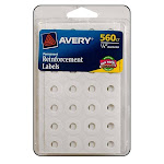 06734 AVERY REINFORCEMENT LABELS WHITE 560PC