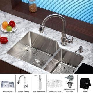 Kraus Kitchen Combo Set Stainless Steel 30 Inch Undermount Sinkfaucet