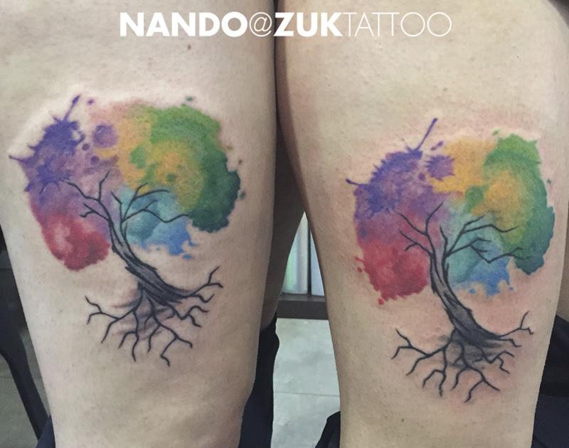 Tatuajes Estilo Watercolor Con Un árbol De La Vida