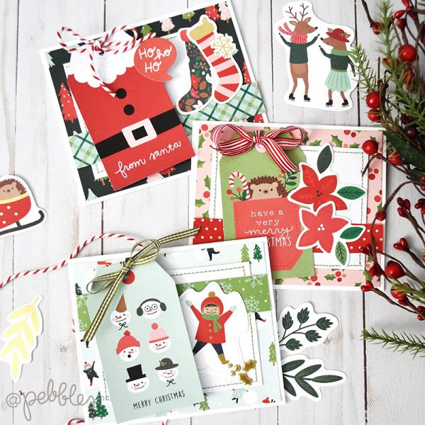 """Easy Holiday Cards by Wendy Sue Anderson featuring the """"Merry Little Christmas"""" Collection by @PebblesInc."""