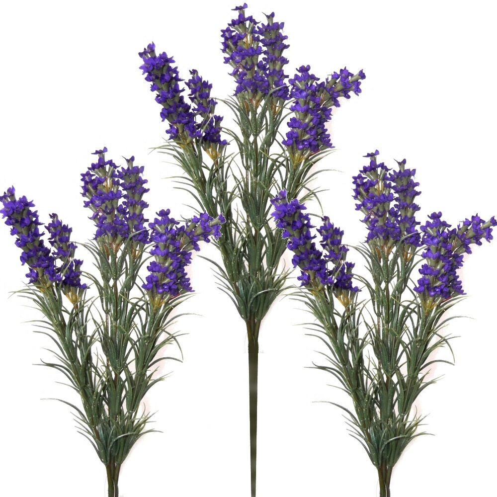Set of 3 Artificial 35cm Lavender Plants With Dark Purple Flowers  eBay