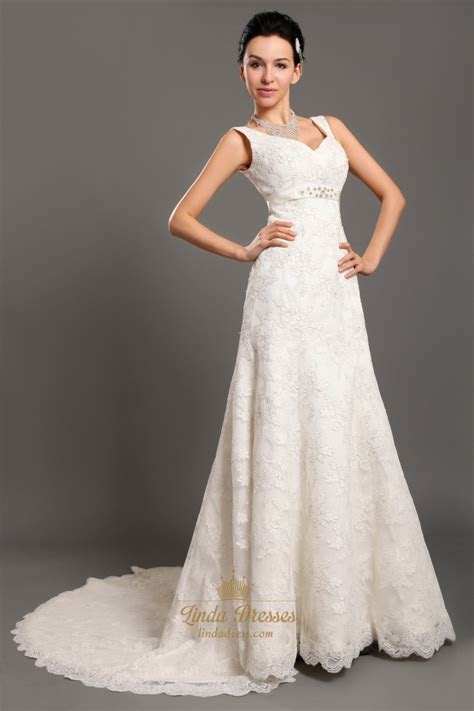 Ivory V Neck Empire Waist Lace A Line Wedding Dresses With