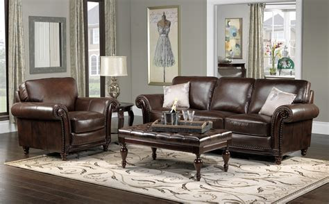 color schemes  living rooms  brown leather grey