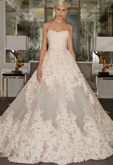 Chantilly Lace Strapless Ball Gown Wedding Dress   Romona