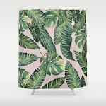 "Jungle Leaves, Banana, Monstera Pink Shower Curtain - 71"" x 74"""