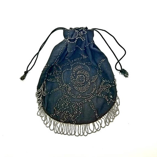 Vintage Black Crepe and Metal Bead Fringe Drawstring Purse