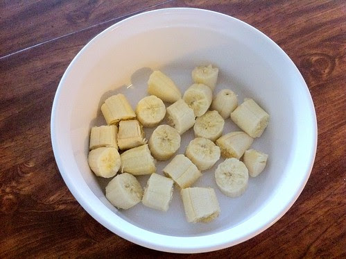 Chunked Bananas Added to Bowl