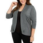 Karen Scott Womens Plus Ribbed Solid Cardigan Top Gray 2X