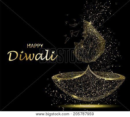 Happy Diwali Greeting Card Deepavali Light And Fire Festival Gold