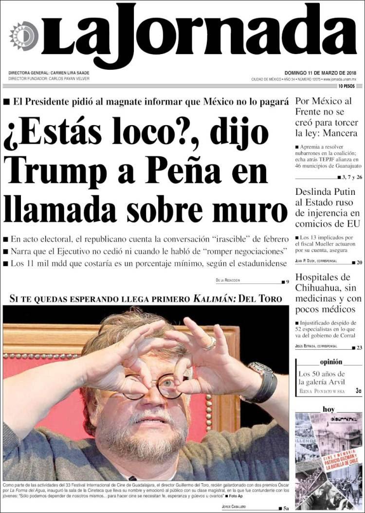 Portada de La Jornada (México)