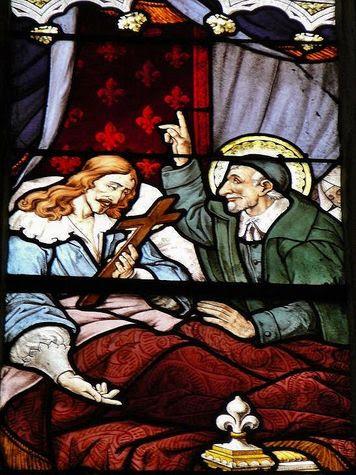 mort de Louis XIII vitrail de St Séverin détail.JPG