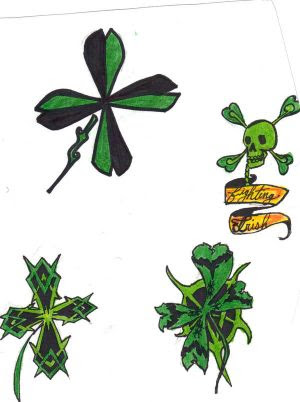 4 leaf clover tattoo. there r still trace of blood