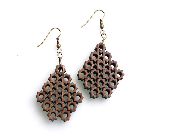 eco friendly chandelier earrings - Bamboo 8 Sided Star Earrings.  natural bamboo,  geometric wood jewelry. winter fashion - ArchetypeZ