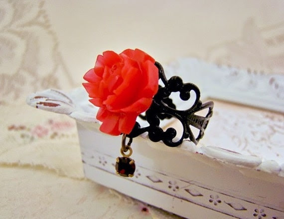 Valentine Red Rose & Rhinestone Drop Filigree Ring by Alyssabeths