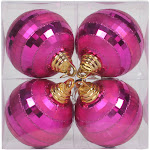 Vickerman 4 inch Orchid Shiny-Matte Mirror Ball 4/Box, Purple