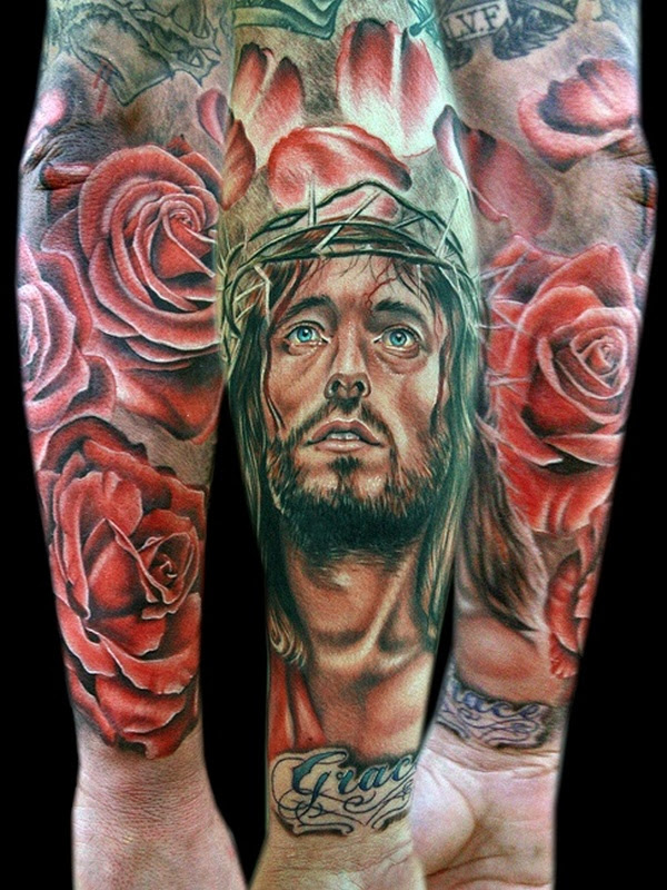 Nice Forearm Jesus Head Tattoo