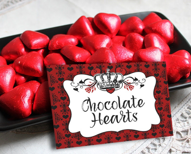 Queen of Hearts Party Labels - INSTANT DOWNLOAD - Editable ...