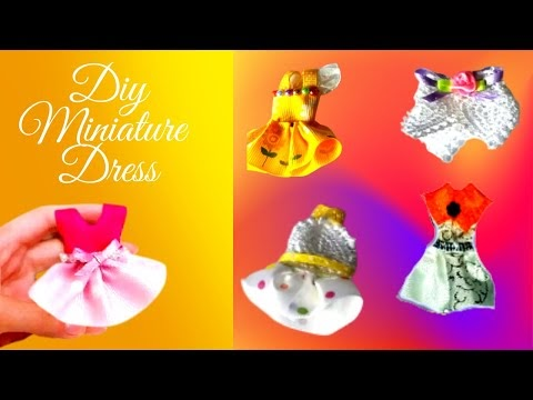 4 Diy Miniature Doll Dresses | How To Make Doll Clothes | Doll dress Tut...
