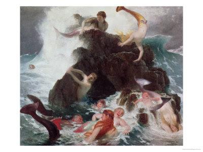 Mermaids at Play, 1886 Lámina giclée