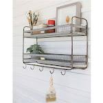Tiered Shelf with 5 Hooks