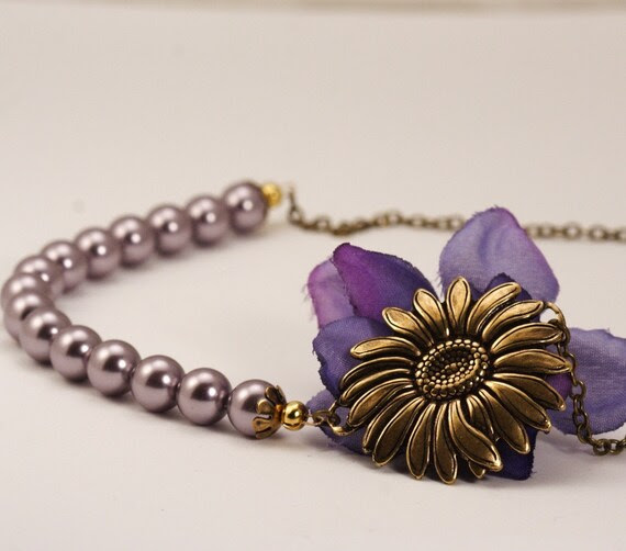 Shipping Included - Vintage Style Sunflower Bloom Necklace - Mauve Pearls and Antique Gold