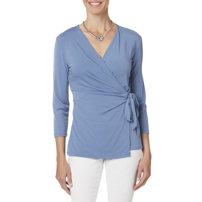 Jaclyn Smith Jaclyn Smith Women's Wrap-Front Shirt