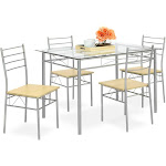 Best Choice Products Home 5-Piece Dining Table Set with Glass Table Top, Silver