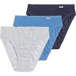 Jockey Elance Classic Fit French Cut Panty - 3 Pack, Blue/Blue Dot/Sea Blue (1487)